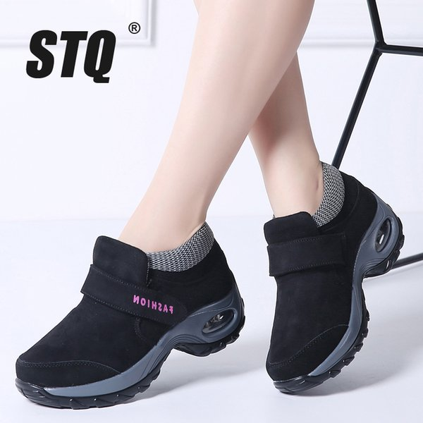 2019 STQ 2018 Winter women snow boots for women shoes warm platform black ankle boots female high wedge waterproof hiking Boots 1851