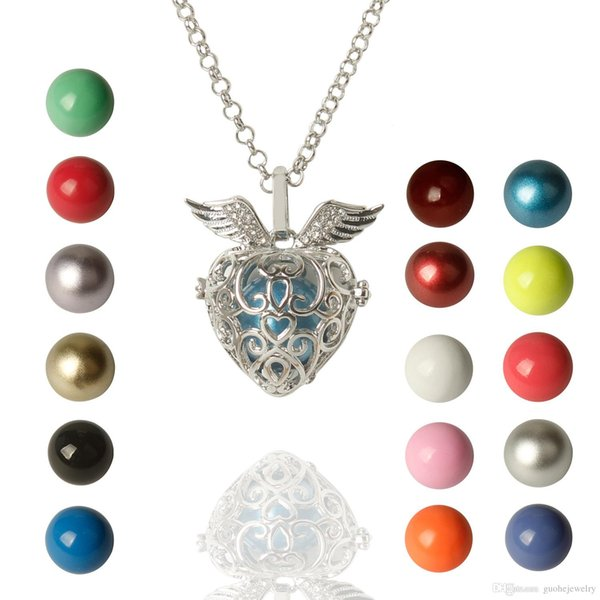 Pregnant women necklaces copper ball sounds Pearl Necklaces heart pendant can be opened necklaces free shipping
