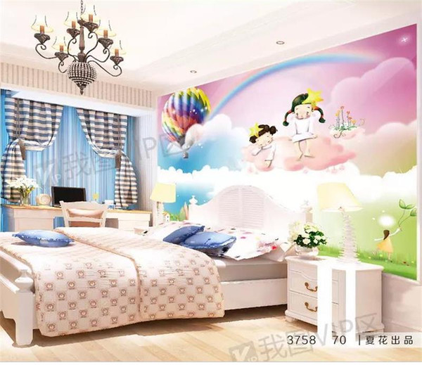 Custom Size 3d Photo Wallpaper Kids Room Mural Balloon Rainbow Girl 3d Painting Picture Sofa Tv Background Wall Wallpaper Non Woven Sticker Free Hd