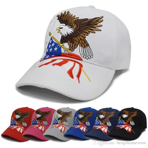 Eagle Drapeau Amérique Lettre Snapback Chapeaux d'extérieur Mode Donald Trump USA broderie Casquette de baseball unisexe Casual Sport Pare-soleil Cap BH2102 TQQ