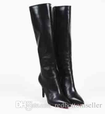 best service e1150 e4442 2018 Black Genuine Leather Women Boots Luxury Brand Red Bottom Boot Sempre  Monica Black Leather OTK Thigh High Over Knee Boots 35-42