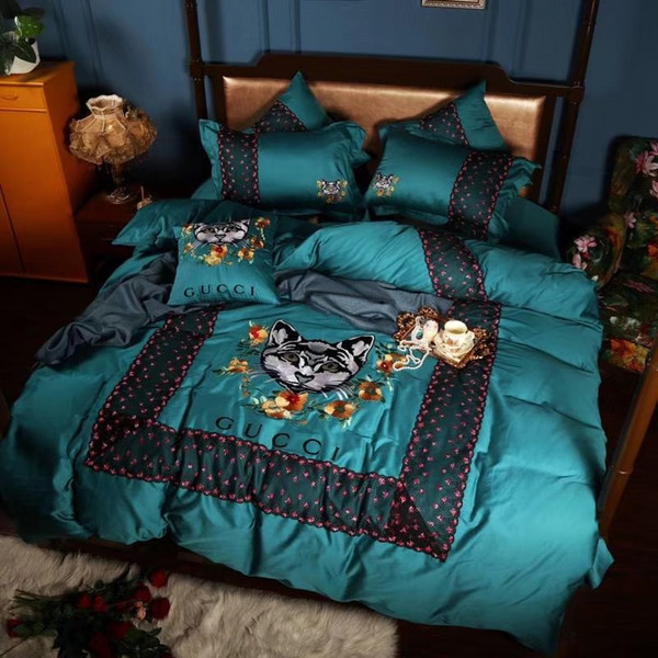 5 Color Cat Embroidery Bedding 4PCS Suit Top Grade Lace All Cotton Satin Drill Bed Cover Letter Europe And America Bedding Bag