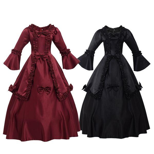 Vintage Carnival Renaissance Dresses with Petticoat Burgundy Black Victorian Dress for Women Long Sleeve Lolita Costume
