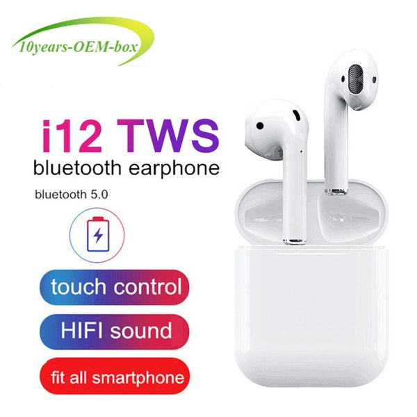 2019 NEW I12 TWS Bluetooth Earphone Wireless Earphones Touch Control Headset 3D Stereo Earbuds Charging Case I 12 I10 Tws
