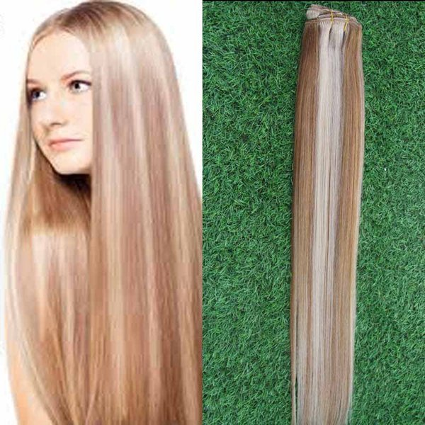 Clip in Human Hair Extensions 8pcs/set Light Brown/Bleach Blonde #P8/613 Weighs 100g Straight Weave Remy Hair