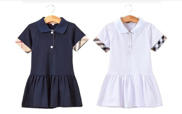 Verano nuevo Vestido de las niñas niños algodón deportes vestidos casuales niños desginer ropa niños solapa a cuadros de manga corta vestido de tenis