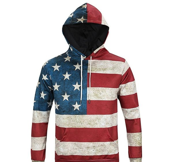 Mens Hip Mop Hoodie Sweatshirt Sweater Fall Fashion Casual Hoodies US Flag 3D Digital Printing Slim Camouflage Hooded Sweater Free Shipping