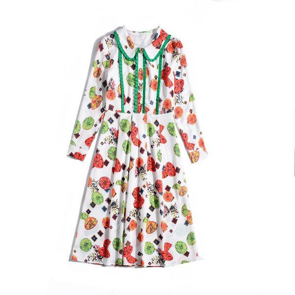 2019 Spring Long Sleeve Peter Pan Collar Floral Print Lady Patchwork Mid-Calf Length Dress Luxury Runway Dresses M11H861965