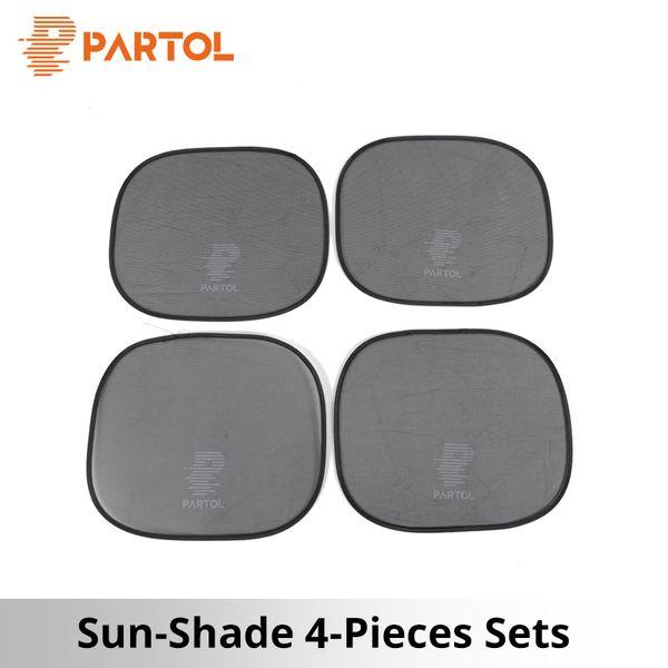 Partol Black Gauze Portable Car Windows Sun Shade Automobile Side Windows Protective Sun Shade Sunlight Protection Covers 4pcs