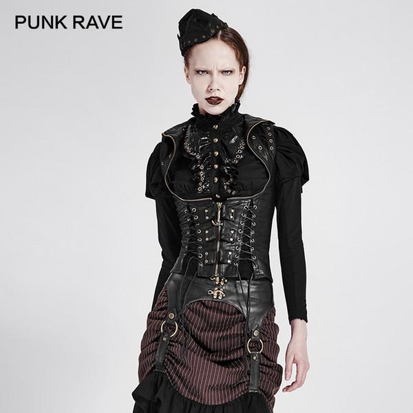 PUNK RAVE Sahne Kostüm Steampunk Yüksek Yaka Kadın Yelek Punk Seksi Kolsuz Yelek Ceketler Kadın PU Deri Korse Yelekler