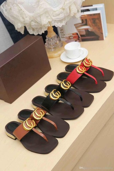 2019 Classic Women Flat Sandals, Black Leather Thong Casual Slides for Summer - Beach Flip Flops Size 35-42