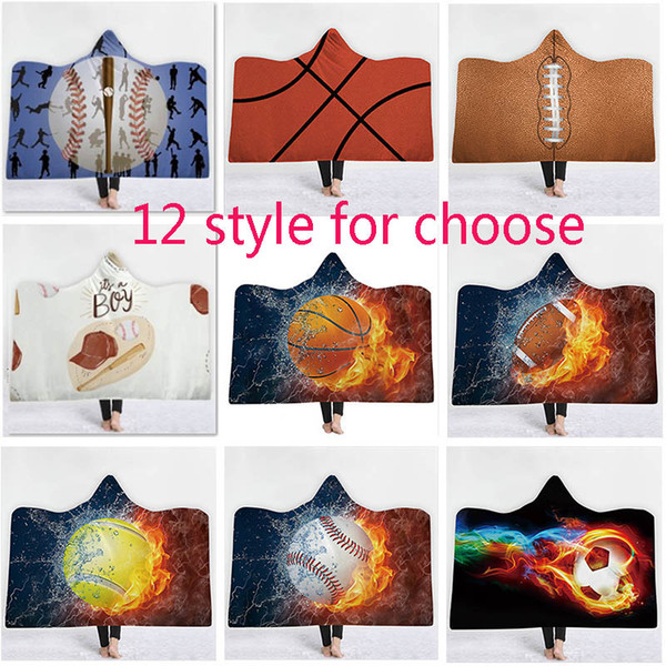 Baseball Softball et Football Basketball Poncho Couverture Pour Enfants Adulte Vêtements de Dessus De Vêtement Blouses Hoodies Vêtements Chaud Enveloppent Châle Cape XD20815