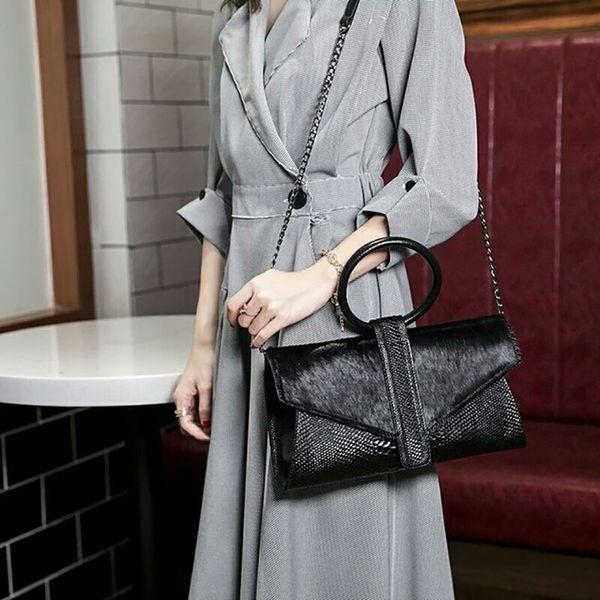 Genuine Leather Chain Messenger Bags Ring portable Hand Bag Leopard Print Purse Horse Hair Evening Clutch Bag Famous Designer
