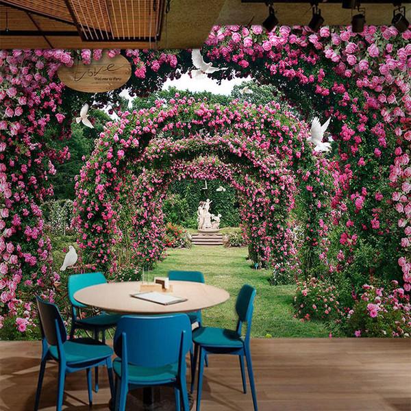 Custom 3D Mural de pared Moderno Romántico Rosa Paisaje Pastoral Papel tapiz Casa de bodas Dormitorio Pared de fondo 3 D Papel De Parede