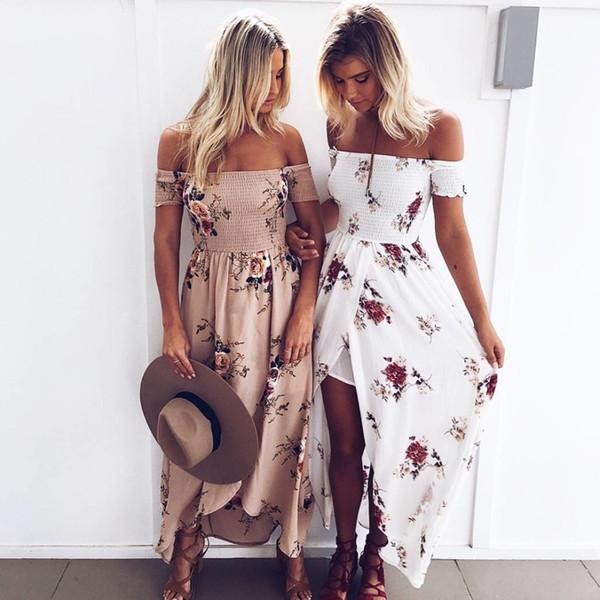 Les robes des femmes 2019 été nouvelle robe imprimée des femmes Sexy Split vacances robes de plage Mode Tube Top Jupe 7 Styles Taille XS-5XL