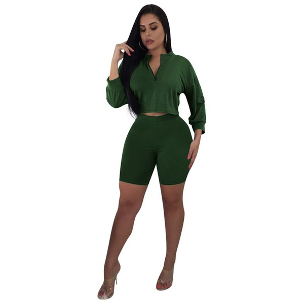 Fall 2019 New Hot Selling Pure Color High Waist Fashion Sexy Lady Two-piece Set