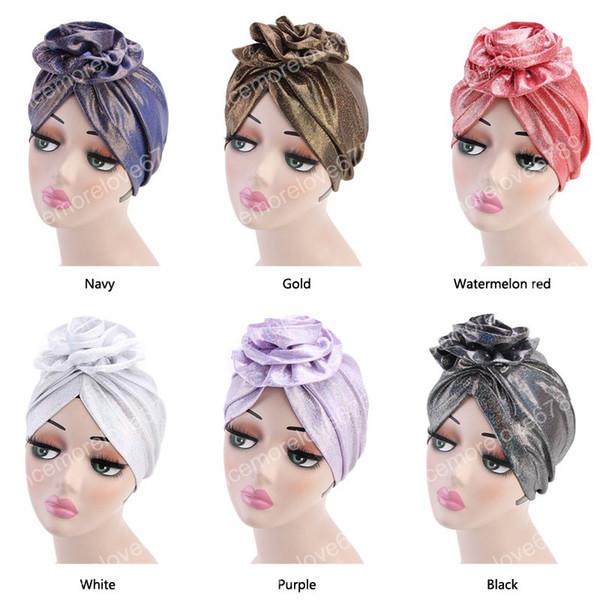 Nuove donne elegante fiore turbante shinny cappello di seta cancro chemo caps berretti musulmano turbante partito hijab bandane accessori per capelli