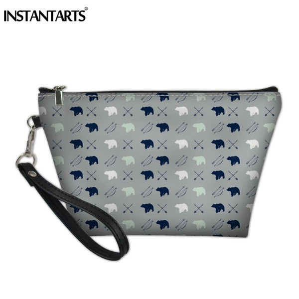 INSTANTARTS Cute Bear Puzzle Prints Women Make Up Handbags Leather Travel Toiletries Organizer Case Potable Bags Cosmetic Bag