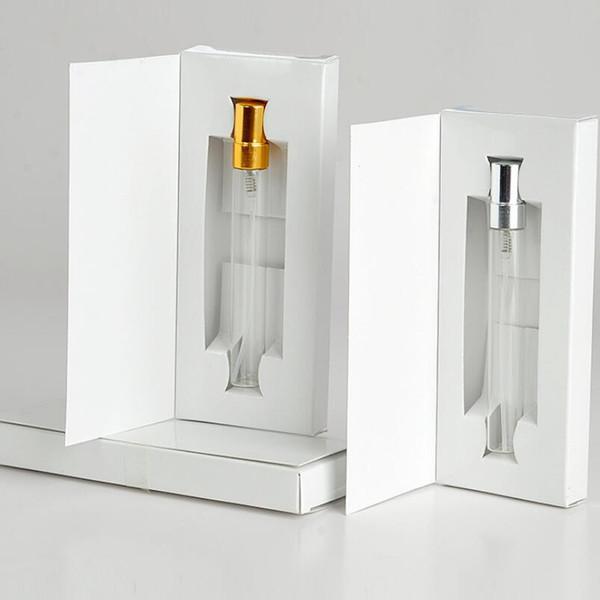Venta al por mayor 100 unidades / lote 10 ml botella de perfume recargable portátil con cajas de papel de embalaje LX5266