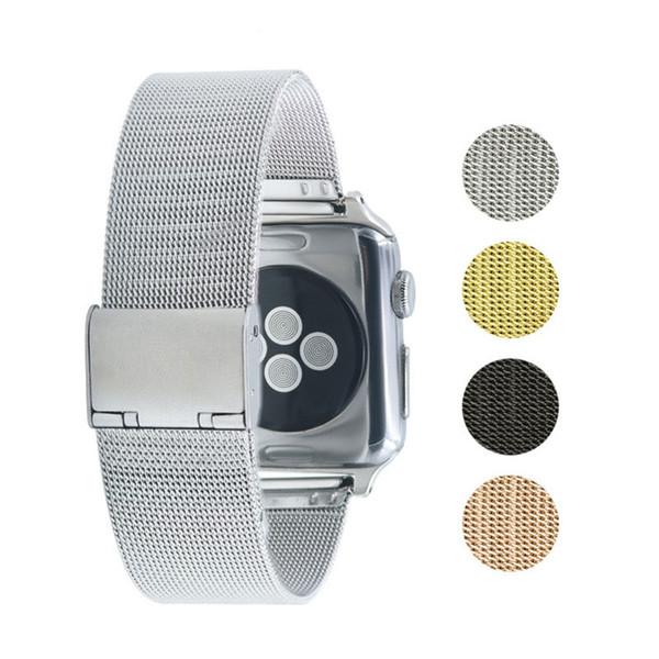 Correa de acero inoxidable para Apple Watch 38mm 42mm Pulsera de malla milanesa para iWatch Serie 4 3 Banda de reemplazo con hebilla Correa de reloj