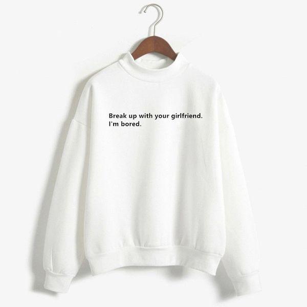 Cuz I'm Bored Sweatshirt White Hoodie Women Kawaii Girl Tops Hoodies Dress Harajuku Funny Pullovers Letter Base Shirt