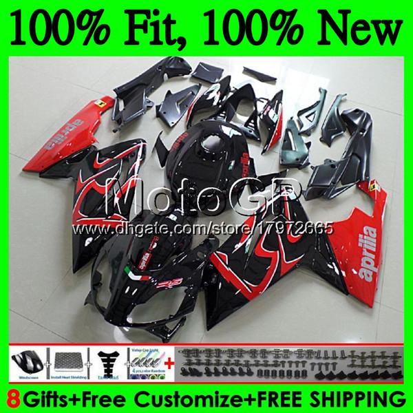 Inyección para Aprilia RS4 RSV125 RS125 06 07 08 09 10 11 RS-125 0GP7 Rojo negro RSV RS 125 2006 2007 2008 2009 2010 2011 Carenado Carenado