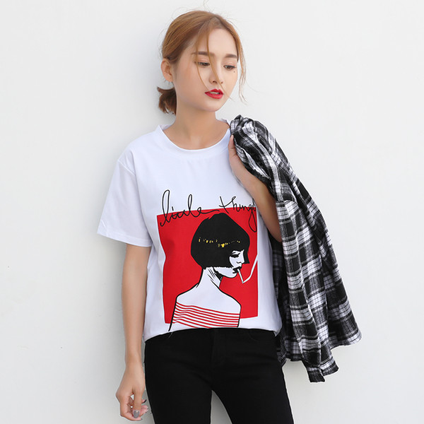White Female T-shirts New Shirts Summer Novelty Tee T Shirt Short Sleeve Print Women Casual Cotton O-neck Tops Lades Tees Q190518
