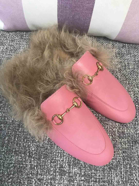 Fashion women casual embroidery Plush shoes Metal buckles slippers rabbit fur rubber shoes.Flower,bee,snake, letter shoes,size:35-41