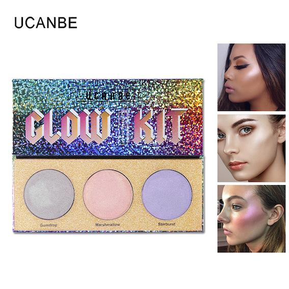 Factory Wholesale Face Body Glow Kit EyeShade Highlighter Makeup Shimmer Face Brighten Powder Base Golden Light E-Shadow Illuminator Palette