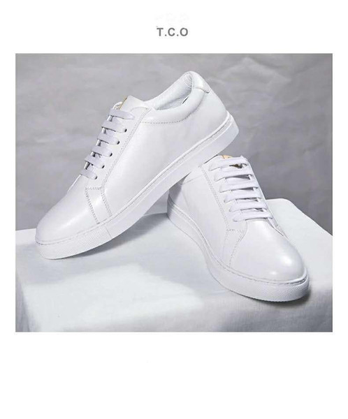 2019 best white shoes for men and women spring, summer and autumn sports breathable casual wild top layer leather flat white shoes TCO36-45