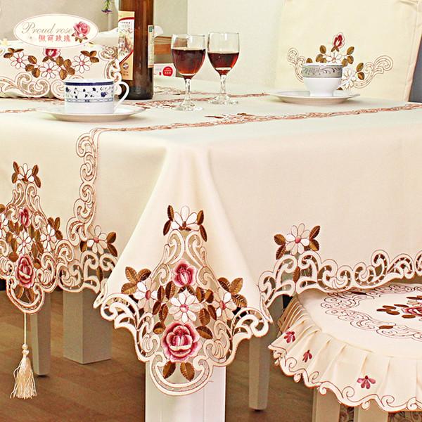 Fier Rose Brodé Table Ronde Nappes En Tissu Chemin De Table Tv Cabinet Couverture Chaise Coussin Décoration De La Maison Table Cover T8190620