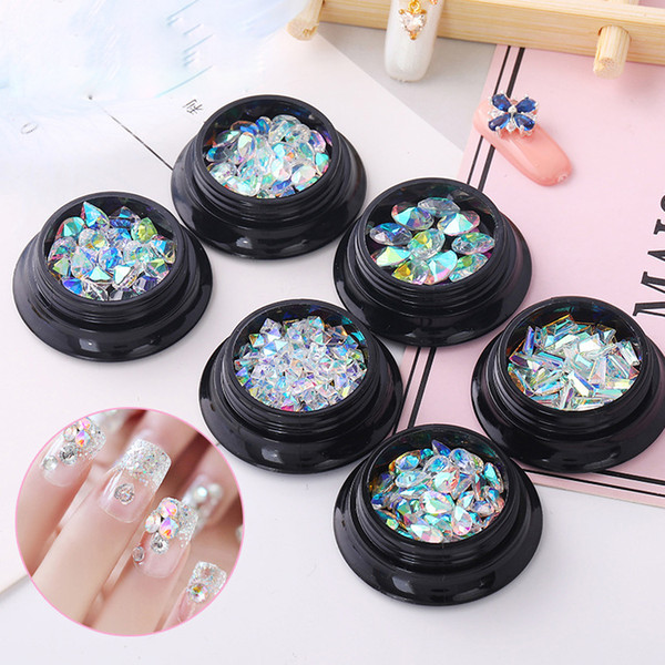 top popular Tamax NA042 6 Styles AB Color Crystal Round Heart Nail Art Strass Rhinestone Sharp Bottom Manicure Oval DIY Nail Stones Glass Tools 2021