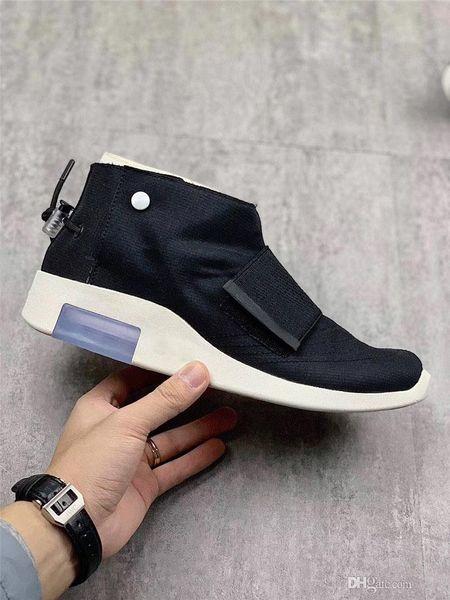 2019 Lançamento Autêntico Medo de Deus Mocassim 1 Fóssil Puro Platina Preto Vela Homens Mulheres Sapatos de Basquete Branco AT8086-002 Sneakers Sports