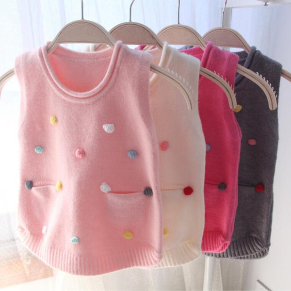 2018 spring fall winter kids child infant baby vests cute dot knit sweaters girl children's clothes baby girls vest jw6576 thumbnail