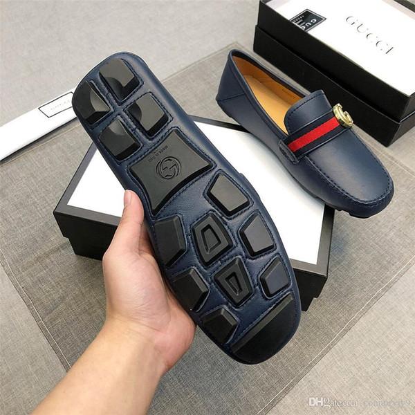 Top marcas de luxo atacado Itália sapatos de couro para homens Mocassin Metal botão impresso Brown tamanho 38-45 com caixa