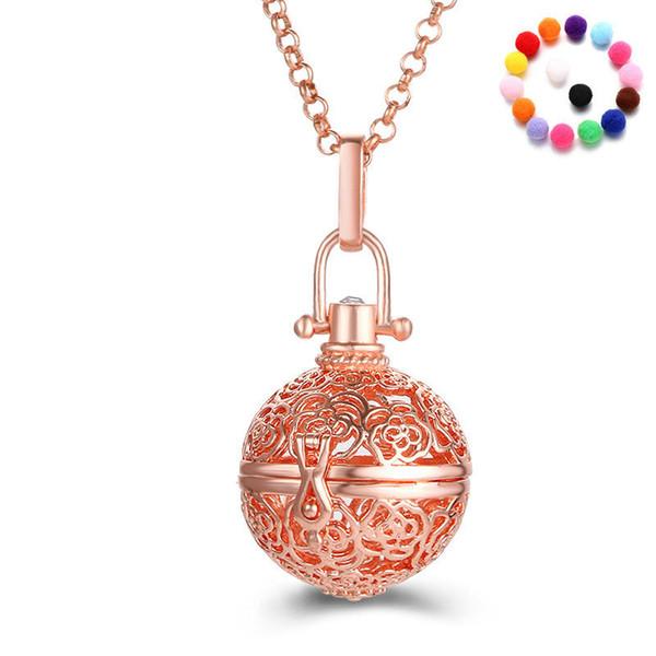 Collana pendente della gabbia della sfera della pancia della sfera della pancia del diffusore dell'olio delle donne di modo con la sfera di cotone libera