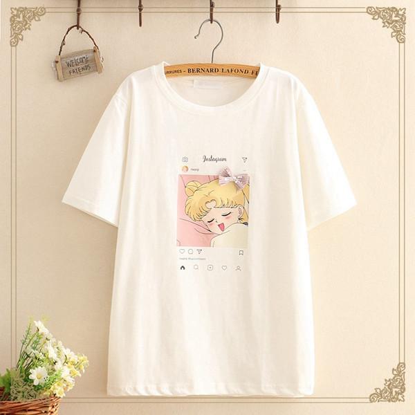 Студент простой маленький свежий мультфильм девушка печати с коротким рукавом хлопка футболки майки женщин