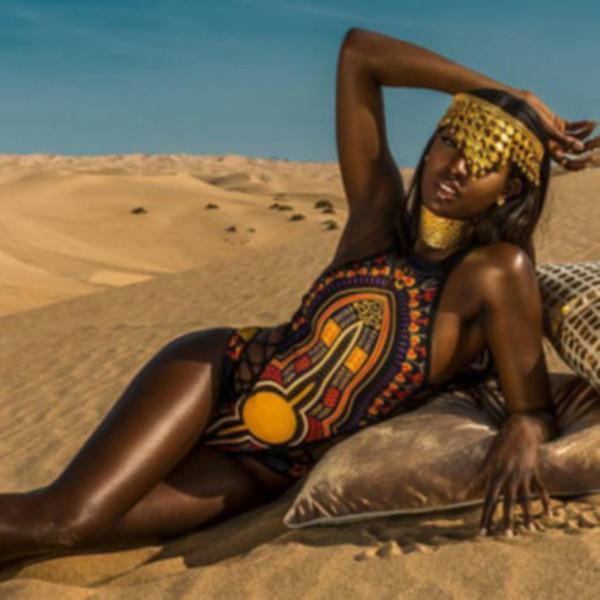 African Print Swimwear One Piece Swimsuit Swimwear Women One Piece Bathing Suit Sexy Swimsuits High Neck Monokini Bikini