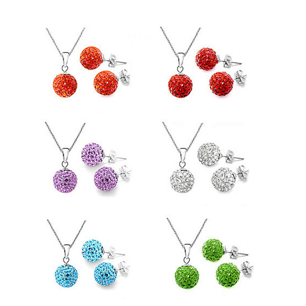 Womens Crystal solid Silver Disco Ball Friendship NECKLACE AND STUD EARRING SET 10mm