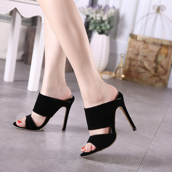 2019Summer New High Heels Slippers Suede Hollow Sandals Gladiator Shoes Women Casual Open Toe Slippers