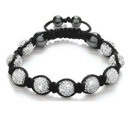 Bracelet enfant nouveau style Disco Ball Beads de 10mm blanc. NOUVEAU bracelets fasion p2432