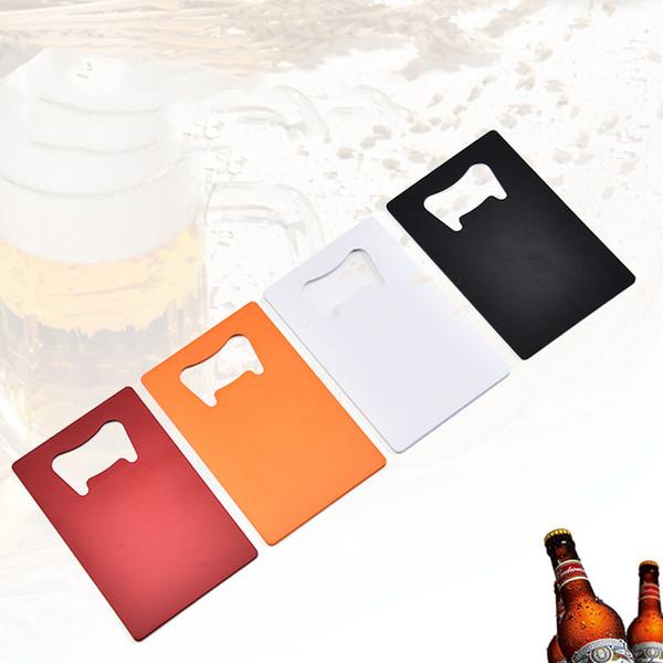 Portafoglio in acciaio inox Dimensione Opener Carta di Credito Beer Bottle Opener Biglietto da visita Apribottiglie piatto Piastra apri cucina gadget DBC BH2632