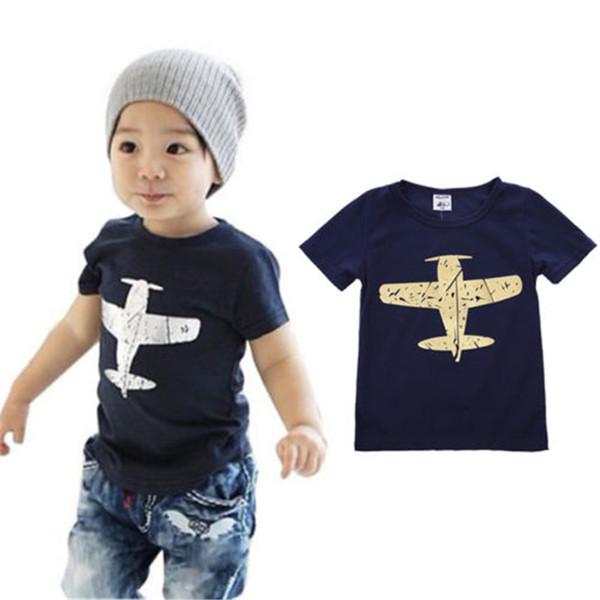 Bebê da criança menino verão de manga curta de algodão azul marinho camiseta bebê menino roupas de verão