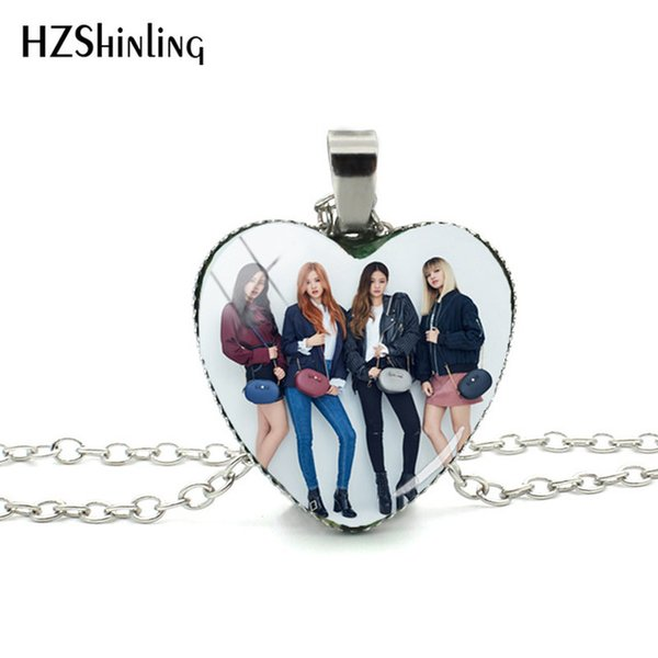 2019 New Black Pink Silver Heart Pendant Necklace Lisa Rose Jisoo Jennie Glass Cabochon Heart Shaped Necklaces Gifts Fans HZ3