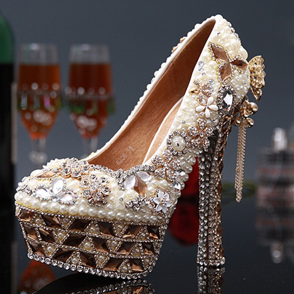 Sweet Tassel High Heels Evening Prom Party Wedding Dress Luxury Bridesmaid Shoes Pearl Crystal Round Toe Ladies shoes Women
