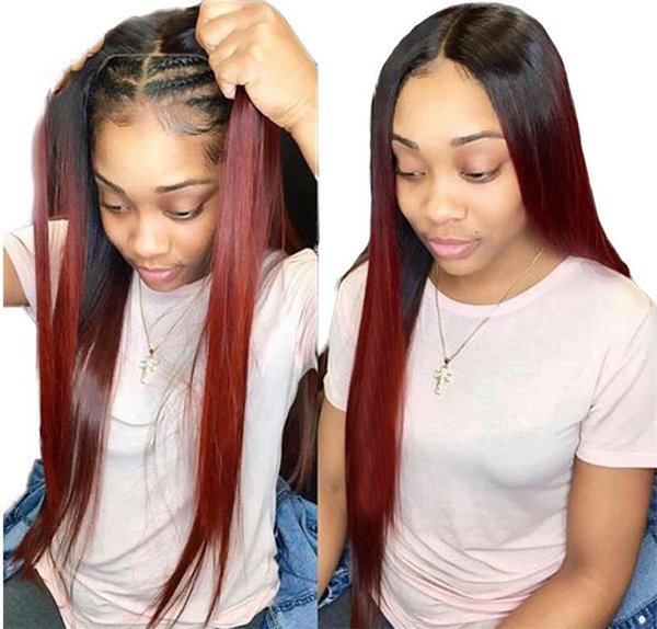 1b 99J Ombre Red Color Full Lace Wigs 8-26 Inch Silky Straight Virgin Brazilian Human Hair Lace Front Wig