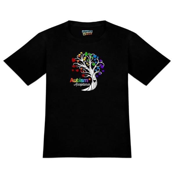 Acceptation de l'autisme Arbre de la vie avec des coeurs T-shirt de nouveauté pour hommes T-shirt pour hommes New Fashion Casual Cotton à manches courtes Drôle