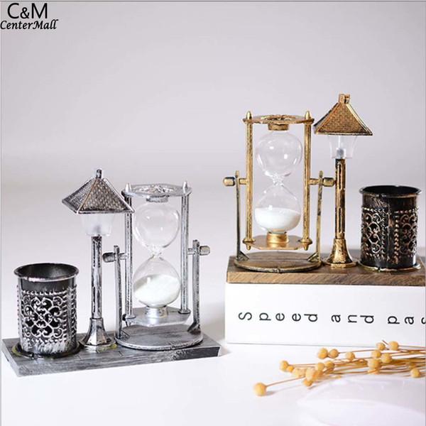 Ретро-стиль железная башня Glow Star украшения внутреннего освещения украшения песочные часы форма искусства декора