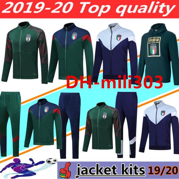 Nuevo 19 20 Copa de Europa de fútbol de Italia chaqueta de chándal ajustado 2019 2020 ITALIA BELOTTI Verratti Chiellini INSIGNE Fútbol conjuntos de ropa deportiva chaqueta