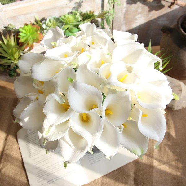 11pcs / Lot 36cm artificial calla lily wedding home decoration bouquet real touch simulation calla lily artificial PU flower branch